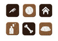 Pet shop wooden icons set vector Stock Photography