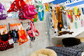 Pet supplies a store shelf filled with including treats snacks toys and beds for cats and dogs the image orientation is horizontal Stock Images