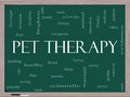 Pet Therapy Word Cloud Concept on a Blackboard Stock Image