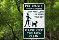 Pet waste sign at the park in miami Royalty Free Stock Image