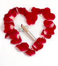 Petals heart   with lipstick Royalty Free Stock Image