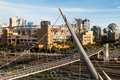 Petco Park and Harbor Drive Suspension Bridge in San Diego Royalty Free Stock Photo