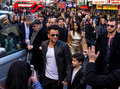 Peter andre arriving in leicester square london uk st february for a screening of his peabody movie Royalty Free Stock Images