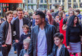 Peter andre posing for photographers with his children london uk st february a screening in leicester square peabody Royalty Free Stock Photography