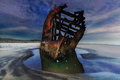Peter Iredale Shipwreck Under Starry Night Sky along Oregon coast Royalty Free Stock Photo