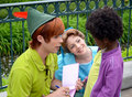 Peter pan and wendy pictured here in the disney paris resort talking to a little girl signing autographs were Stock Image