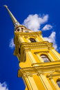 The peter and paul cathedral on blue sky background with clouds sun Stock Images