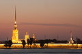 Peter and paul fortress illuminated at sunset st petersburg Stock Image