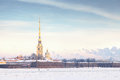 Peter and Paul Fortress in the winter, Saint Petersburg Royalty Free Stock Photo