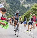 Peter velits climbing alpe d huez france july the slovak cyclist from omega pharma quick step team the difficult road to Royalty Free Stock Images