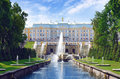 Peterhof grand cascade fountains at palace garden st petersburg Royalty Free Stock Images