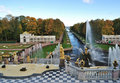 Peterhof. The Grand Cascade and the Sea Canal Stock Photos