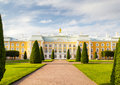 Peterhof grand palace facade the in saint petersburg russia it was built in as a country residence of peter the great Stock Image