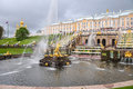 Peterhof Palace wide garden in Saint Petersburg Royalty Free Stock Photo