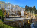 Peterhof in russia grand palace and the grand cascade Stock Photos