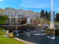 Peterhof in russia grand palace and the grand cascade Royalty Free Stock Image