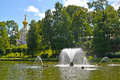 PETERHOF, RUSSIA. A view of the Whale fountain in the Sand pond Royalty Free Stock Photo