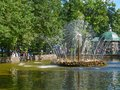 Sun Fountain in the Menagerie Pool in Peterhof, St.Petersburg, Russia