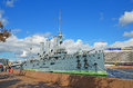 Petersburg russia september cruiser aurora on september in petersburg russia was in service in for service in the pacific far east Royalty Free Stock Photos