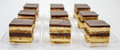 Petite opera cake delicious with layers of chocolate ganache and coffee infused sponge Stock Photos