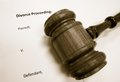 Petition closeup of a legal gavel on divorce document Stock Images