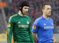 Petr cech and john terry of chelsea london s football players posing before the europa league football game between steaua Stock Photo