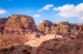Petra desert view of and ancient tombs carved in the rock in jordan Royalty Free Stock Photos