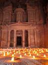 Petra by night show at image of al khazneh candlelight Royalty Free Stock Photography