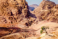 Petra view of ancient tombs carved in the rock in jordan Royalty Free Stock Photography
