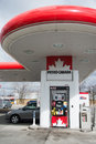 Petro canada gas station in toronto april gasoline pump is a retail and wholesale marketing brand of suncor energy until it Royalty Free Stock Images