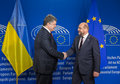 Petro Poroshenko and Martin Schulz Royalty Free Stock Photo
