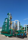 Petrochemical industry industrial view of oil refinery tanks Stock Photos