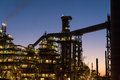 Petrochemical plant the complex structures of a at dusk Royalty Free Stock Photos