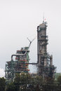 Petrochemical plant detail shot of a section of a on an overcast day Royalty Free Stock Image