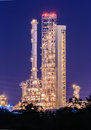 Petrochemical plant furnace column at twilight Stock Photo