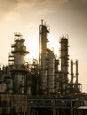 Petrochemical plant vintage style silhouette of silent column tower in Royalty Free Stock Image