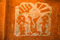 Petroglyph image created by removing rock surface Royalty Free Stock Image