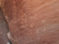 Petroglyphs on cliff ancient carved into a red sandstone in the desert of southern utah Royalty Free Stock Photos