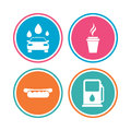 Petrol or gas station services icons car wash automated signs hotdog sandwich and hot coffee cup symbols colored circle buttons Royalty Free Stock Image