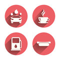 Petrol or gas station services icons car wash automated signs hotdog sandwich and hot coffee cup symbols pink circles flat buttons Stock Image