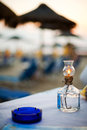Petrol lamp on table beach restaurant in thassos Stock Photography