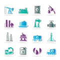 Petrol oil industry icons vector icon set Stock Photo
