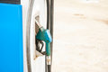 Petrol pump filling close up of Stock Image