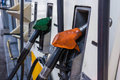 Petrol station fuel pump in gas Royalty Free Stock Image