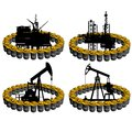 Petroleum business barrel of oil products and oil platforms illustration on white background Royalty Free Stock Photo