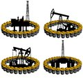 Petroleum business barrel of oil products and oil platforms illustration on white background Stock Photo