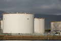 Petroleum fuel storage tanks Royalty Free Stock Photo
