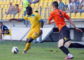 Petrolul ploiesti ceahlaul piatra neamt romanian league s abel camara and s ovidiu marc pictured in action during the football Stock Photography