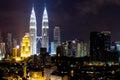 Petronas KLCC Twin Towers at night Royalty Free Stock Photo