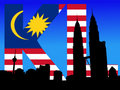 Petronas Towers with flag text Royalty Free Stock Photo